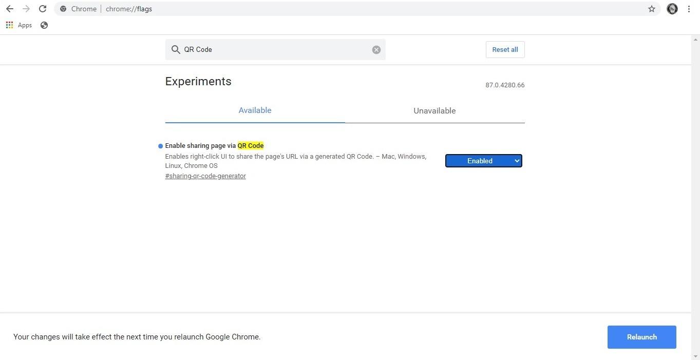 كيفية تمكين تجارب Chrome Code Qr تمكين المشاركة