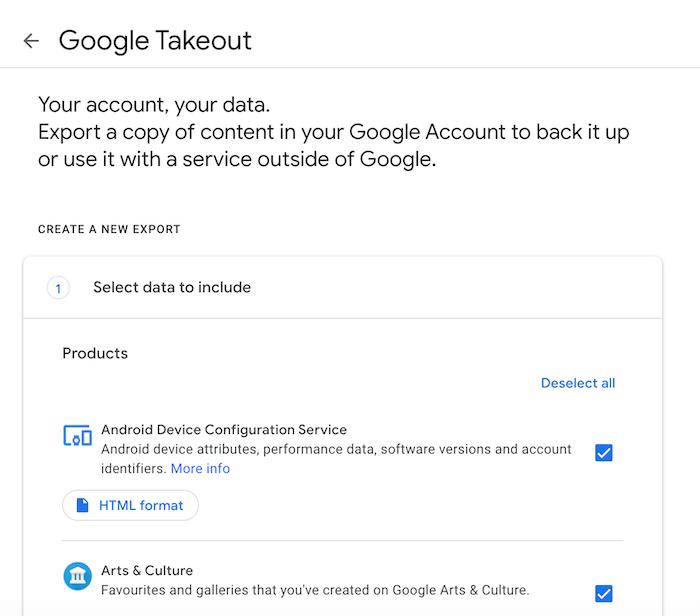 Google टेकआउट का उपयोग करके आप अपना Google डेटा डाउनलोड कर सकते हैं।