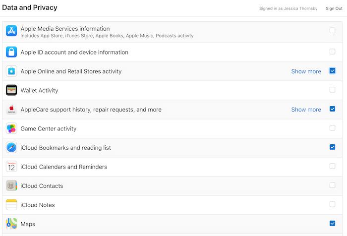 आप Apple के सभी उत्पादों और सेवाओं से संबंधित डेटा तक पहुंच सकते हैं।