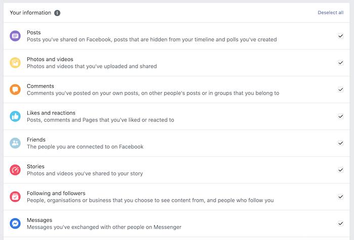 आप अपने फेसबुक अकाउंट से डेटा की एक विस्तृत श्रृंखला डाउनलोड कर सकते हैं।