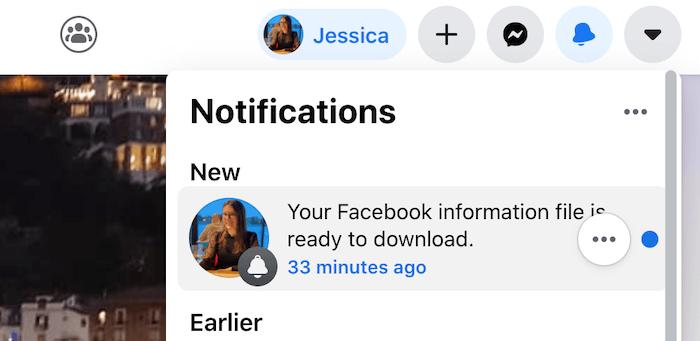 जब आपका डेटा डाउनलोड करने के लिए तैयार होगा तो आपको एक फेसबुक सूचना प्राप्त होगी।