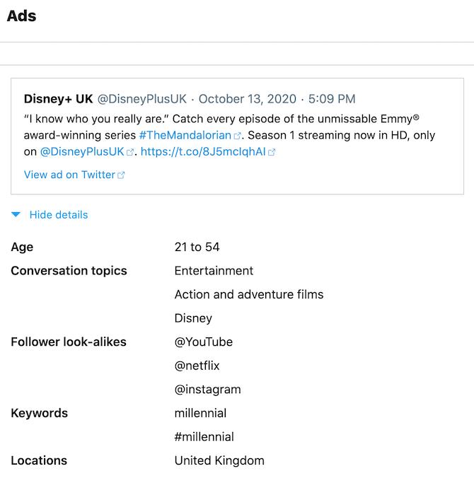 ट्विटर के डेटा डाउनलोड में विस्तृत विज्ञापन जानकारी शामिल है।