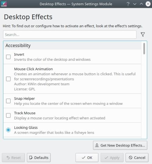 Pemilihan Efek Desktop Kde