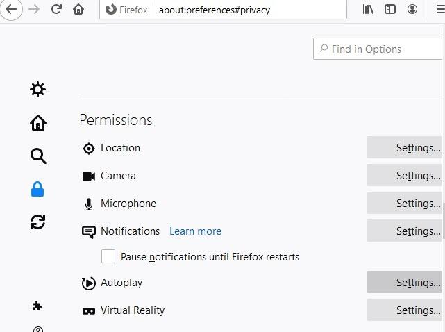 Nonaktifkan Autoplay Browser Firefox
