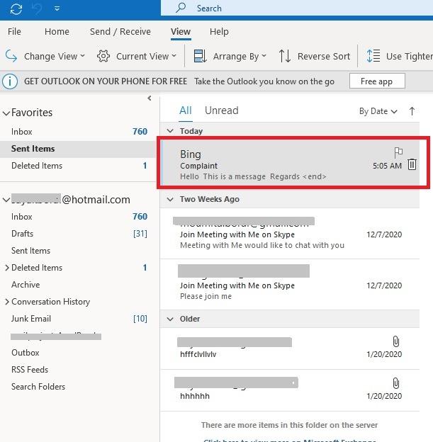 Ingat Klien Outlook Klik Item Terkirim