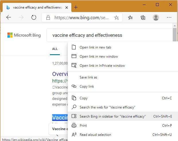 Pencarian Sidebar Bing Edge