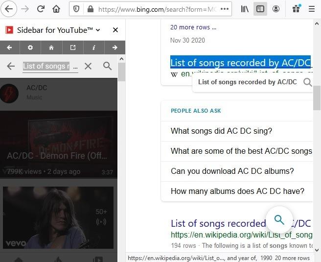 Pencarian Sidebar Firefox Youtube