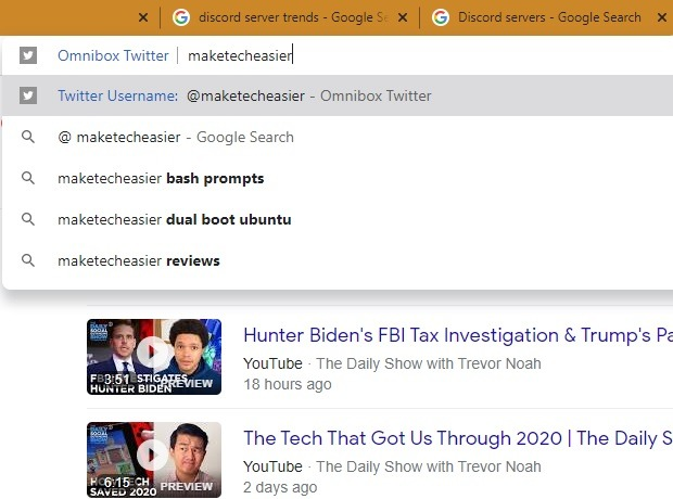Pencarian Sidebar Twitter Chrome