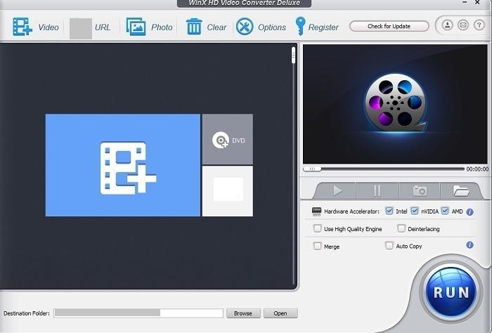 Dasbor Utama Winx Free Hd Video Converter