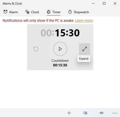 Windows10 Alarms Timer Countdown Perluas