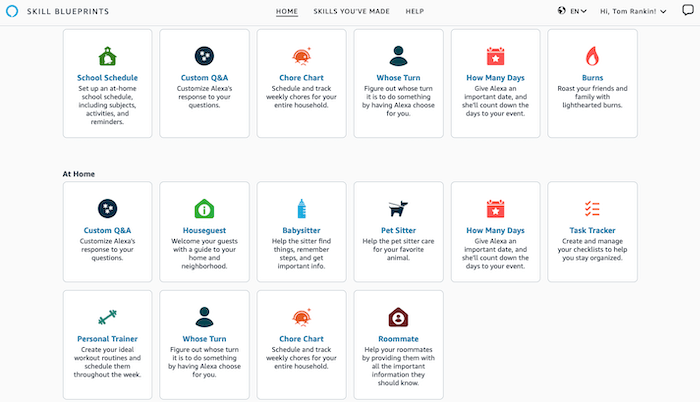 Daftar Cetak Biru Keterampilan Alexa.