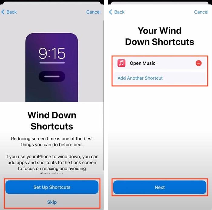 إعداد تتبع النوم في Apple Watch اختصارات Wind Down