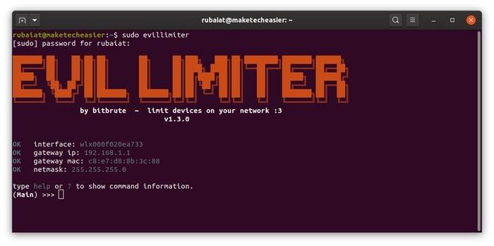 Menjalankan evillimiter untuk mengontrol jaringan wifi di Linux