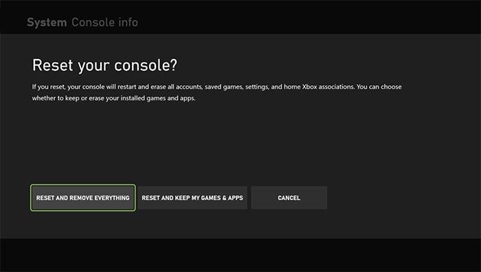 Pengaturan Ulang Pabrik Opsi Xbox