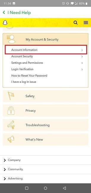 كيفية حذف معلومات حساب تطبيق Snapchat Mobile