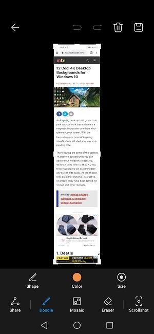 Cara Menggulir Screenshot Huawei Berhenti Menangkap