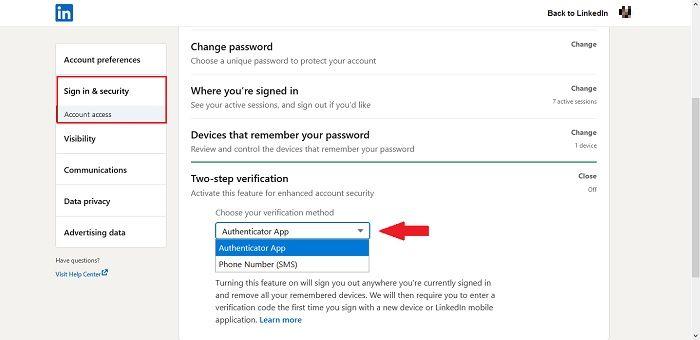 Cara Dua Faktor Otentikasi Linkedin Desktop Aktifkan Opsi Disensor