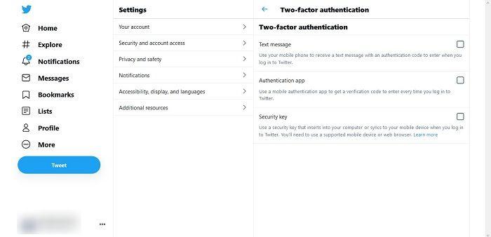 Cara Otentikasi Dua Faktor Opsi Keamanan Desktop Twitter
