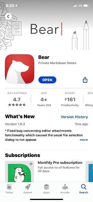 Ios Bearvevernotevkeep Bear