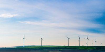 A field of wind turbines.