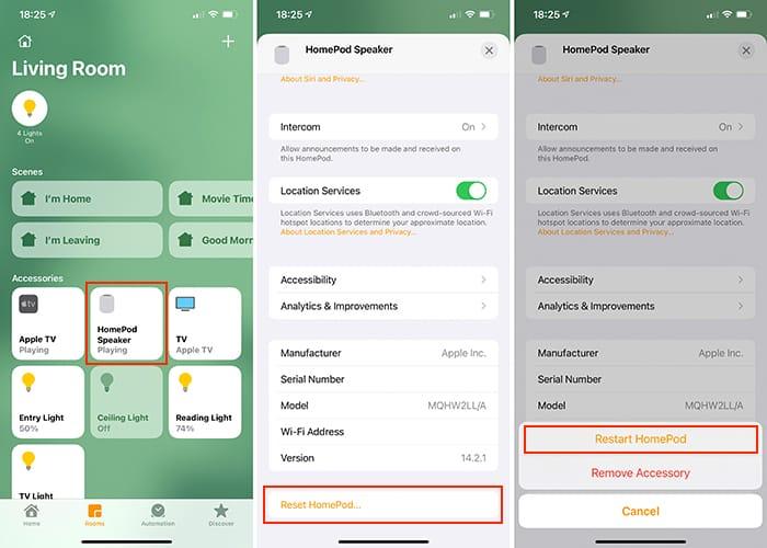 Mulai ulang Aplikasi Beranda Homepod Ios