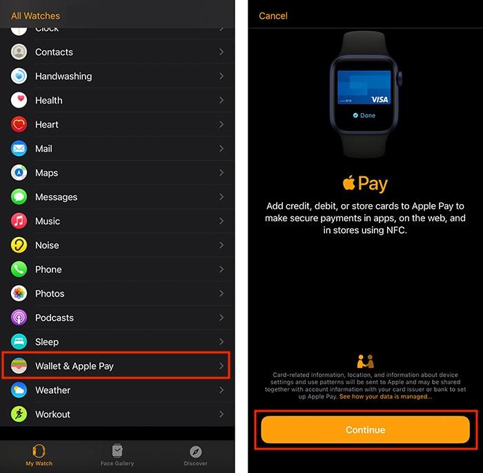 Atur Layar Pengenalan Apple Pay Watch