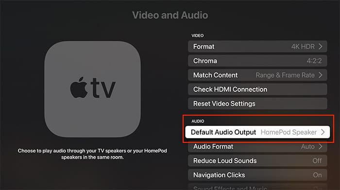 قم بإعداد المسرح المنزلي صوت Apple Tv Homepod الافتراضي لإخراج الصوت Tvos