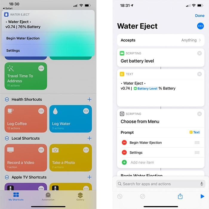 Siri Shortcuts Water Eject
