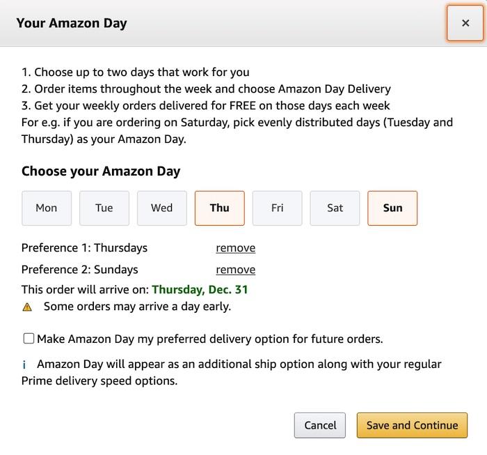 Anda dapat menerima semua paket Amazon Anda pada hari yang sama.
