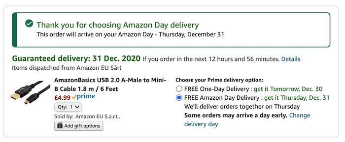 """Sekarang Anda akan melihat file """"Pengiriman Hari Amazon Gratis"""" pilihan."""