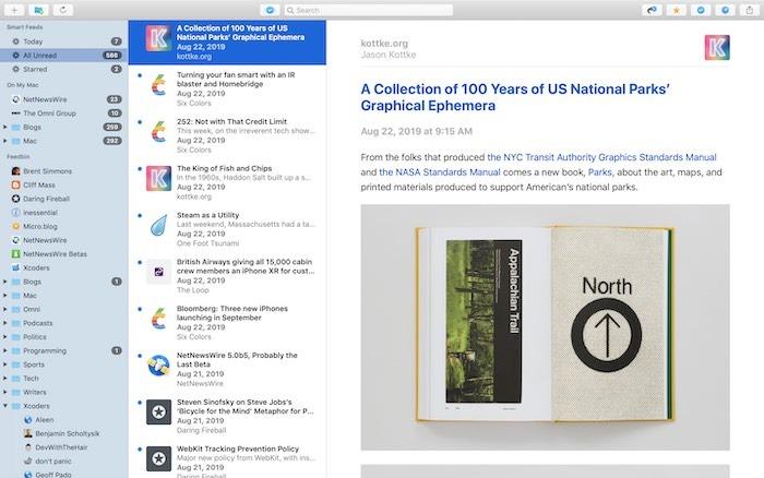 أفضل تطبيقات Rss لنظام التشغيل Mac Netnewswire