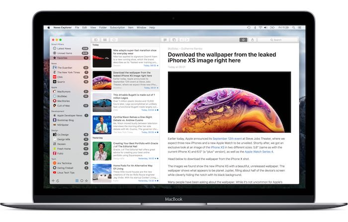 أفضل تطبيقات Rss لنظام التشغيل Mac Newsexplorer