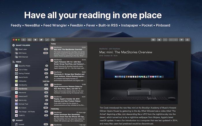 أفضل مجموعة قراءة لتطبيقات Rss لنظام التشغيل Mac
