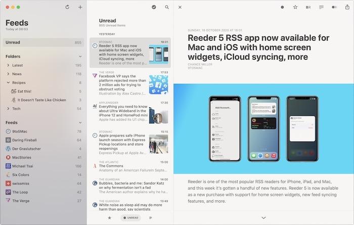 أفضل تطبيقات Rss لنظام التشغيل Mac Reeder5