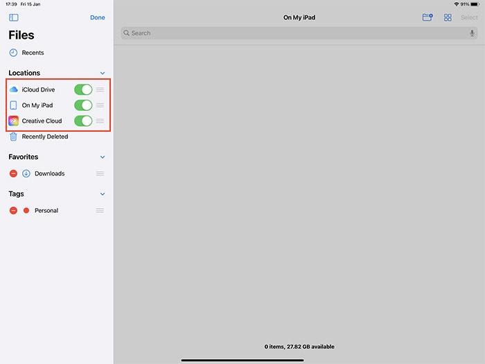 تطبيق الملفات على iOS تحرير مواقع الملفات