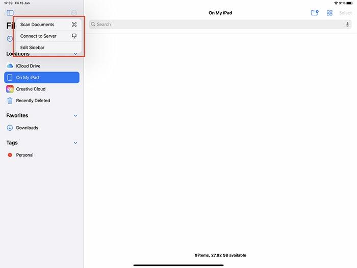 تطبيق ملفات Ios Editing ، الشريط الجانبي
