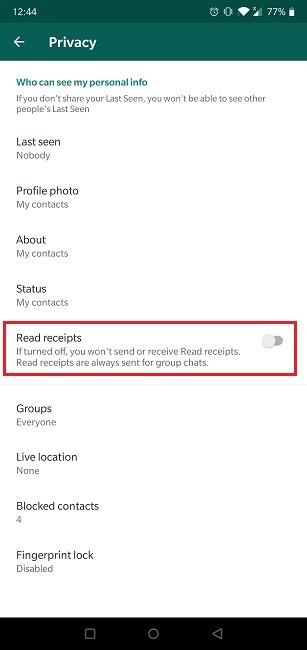 كيفية قراءة الرسائل Whatsapp Invisible قراءة الإيصالات معطلة