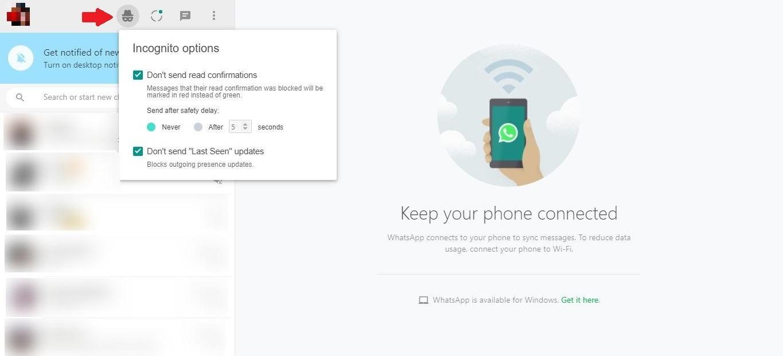 كيفية قراءة الرسائل Whatsapp Invisible Waincognito Web Application