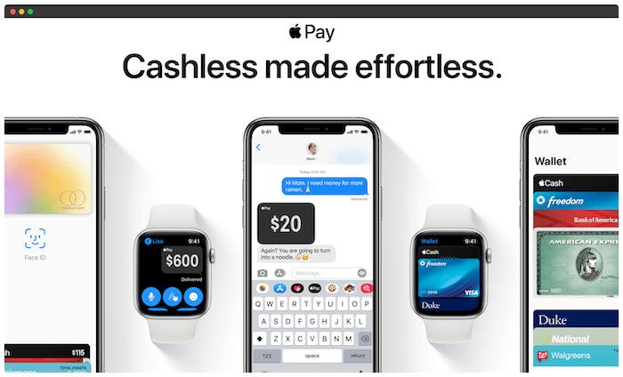 Halaman beranda Apple Pay.
