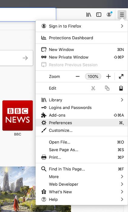 """إعدادات """"تفضيلات"""" Mozilla Firefox."""
