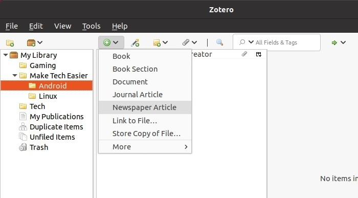البحث مع Zotero أضف المزيد