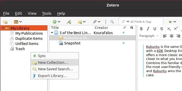 البحث مع مجموعة Zotero الجديدة