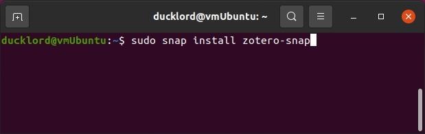 البحث مع تثبيت Zotero Sudo Snap