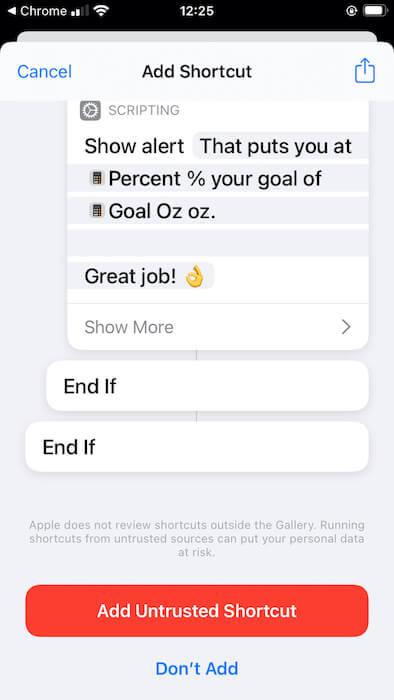 يمكنك فحص بنية اختصارات الطرف الثالث الخاصة بك ، في تطبيق اختصارات Apple.