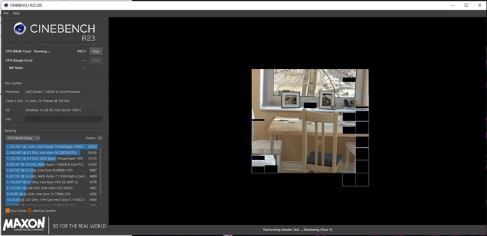 بدأ الاختبار المعياري لوحدة المعالجة المركزية Cinebench Cpu