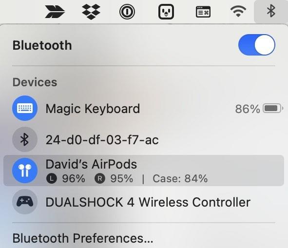 تحقق من عمر بطارية Airpods لجهاز Mac