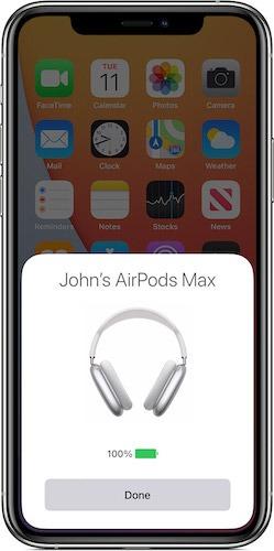 تحقق من عمر بطارية Airpods Max