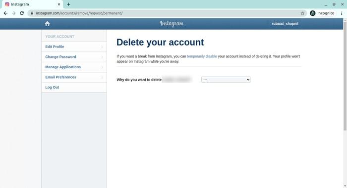 حذف البيانات الشخصية من Insagram