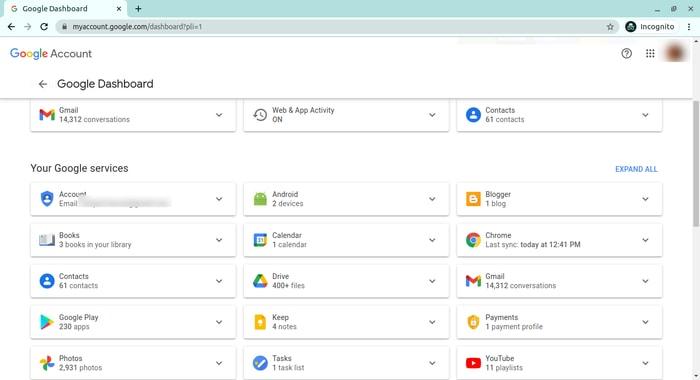 حذف البيانات الشخصية Google Dashboard