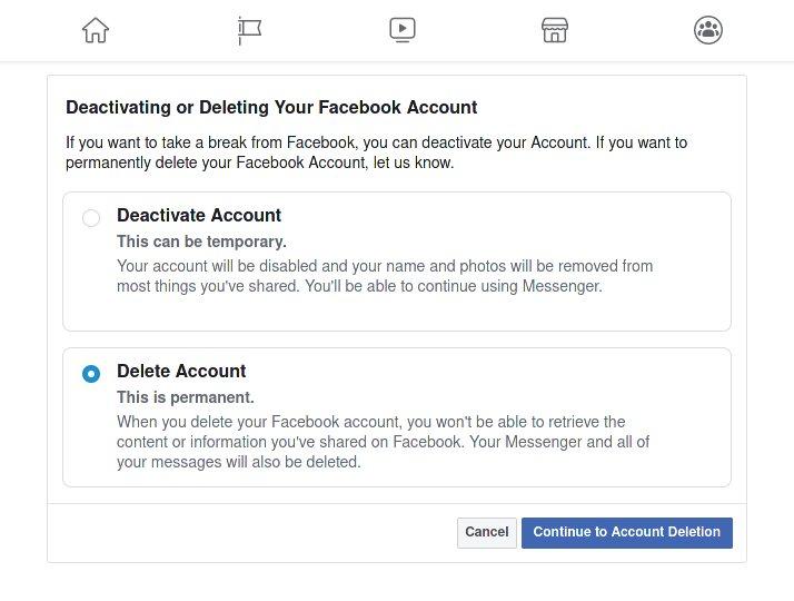 خيار حذف الحساب من Facebook